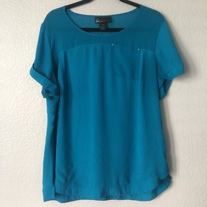 Lane Bryant Semi Sheer Blue Short Sleeve Top 14/16